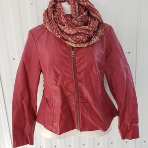 Baccini Faux Red Leather Jacket and Scarf XL